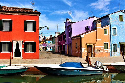 Venice, Burano, Channel, Buildings, Colourful, Colorful