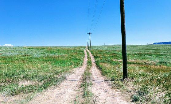 Dirt Road, Telephone Poles, Landscape, Rural, Field