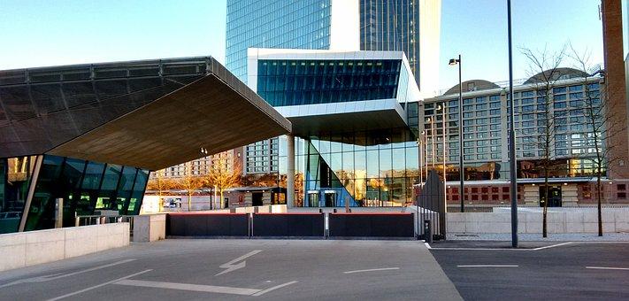 Ecb Entrance, Ecb, Bank, Euro, Skyscraper, Frankfurt
