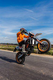 Motorcycle, Wheelie, Road, Sky, Field, Summer, Nature