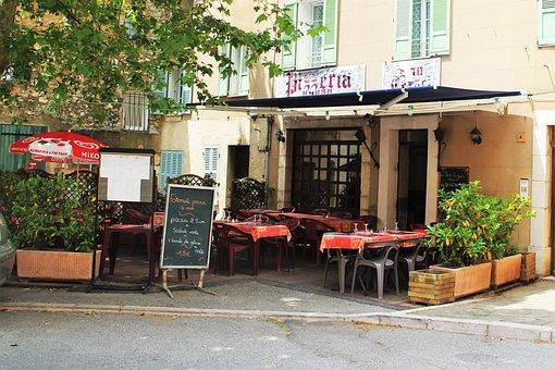 France, Restaurant, Pizza, Europe, Table