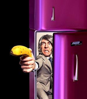 Eat Healthy, Banana, Fruit, Refrigerator, Man, Funny