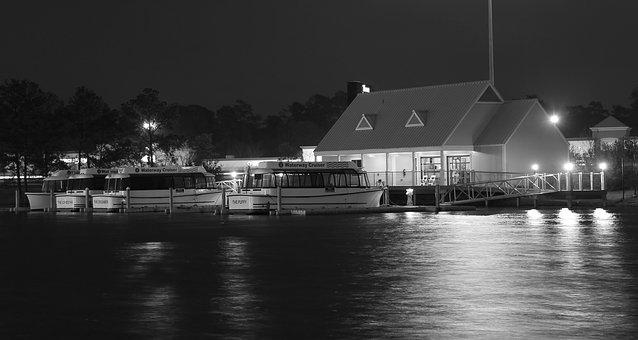 Boats, Water, Night