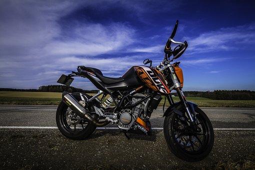 Motorcycle, Ktm, Duke, Sky, Orange, Road, Landscape