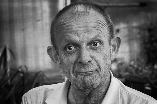 Man, Portrait, Black And White, Face, Close, Human