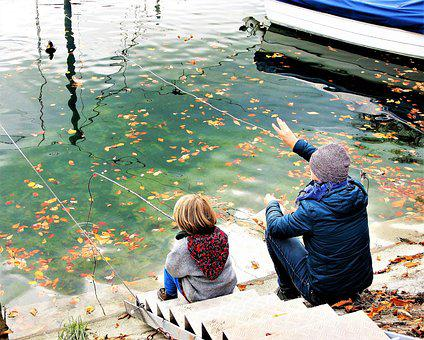Child, Father, Water Surface, Marina, Relax