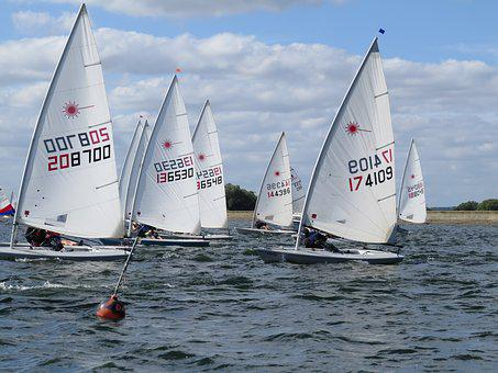 Race, Laser, Dinghy, Water, Sailing Boats