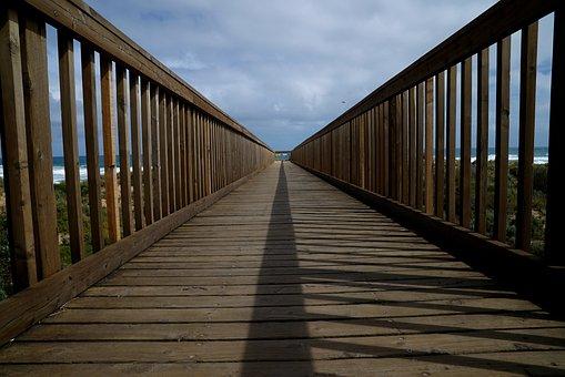 Walkway, Beach, Ocean, Sand, Sun, Surf, Coastline