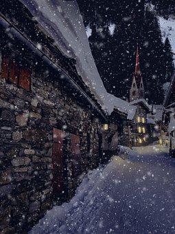 Winter Village, Evening, Night, Twilight, Abendstimmung