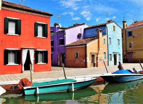 Venice, Burano, Channel, Buildings, Architecture