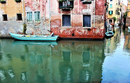Venice, Channel, Water, Mirroring, Buildings, Facade