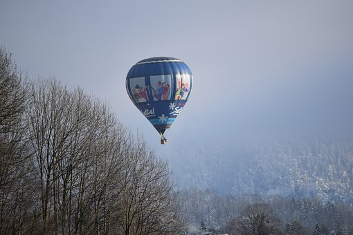 Forest, Hot Air Balloon, Winter, Cold, Wintry, Snow
