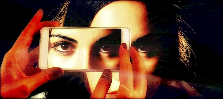 Smartphone, Face, Woman, Eyes, View, Double, Third Eye