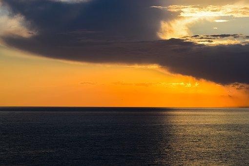 Sunset, Sea, Sky, Clouds, Horizon, Nature, Autumn