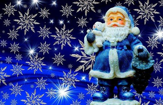 Christmas, Santa Claus, Blue, Color, Happy Fixed