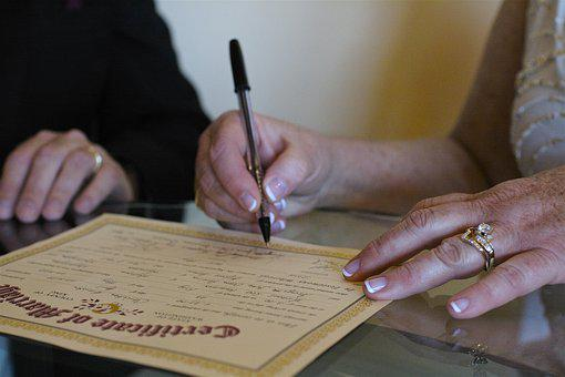 Wedding, Marriage, Certificate, Ring, Signing, Ceremony