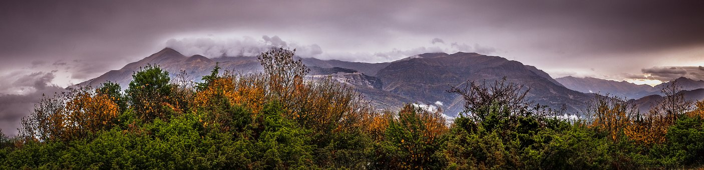 Panoramic, Mountains, Trees, Colors, Autumn, Landscape