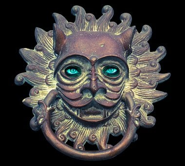 Doorknocker, Fitting, Old, Face, Ears, Metal, Antique