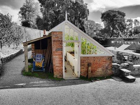 Greenhouse, Garden, Black Color White, Black And White