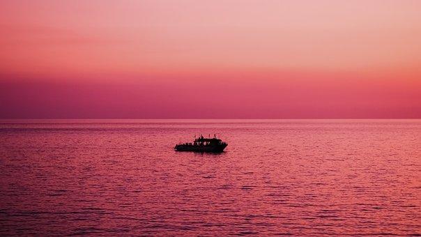 Sunset, Sea, Horizon, Dusk, Afternoon, Boat, Ayia Napa