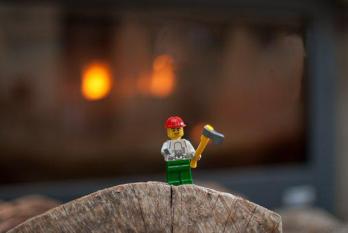 Lego, Figurine, Wood, Fire, Insert, Stove, Woodcutter