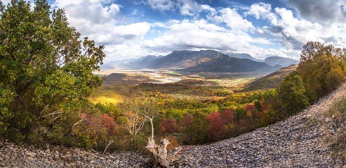 Landscape, Panoramic, Autumn, Sky, Greece, Tree, Nature