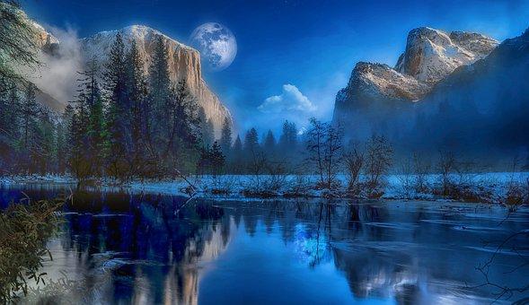 Yosemite Park, Landscape, Sunrise, Sunset, Mountains