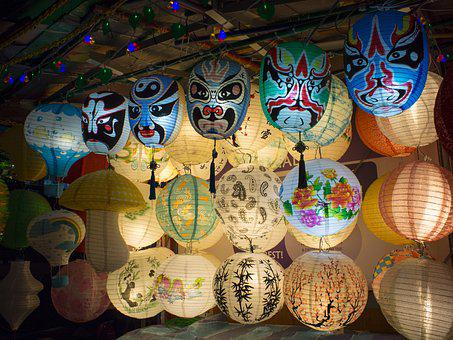 Mask, Lantern, Chinese, Oriental, Traditional