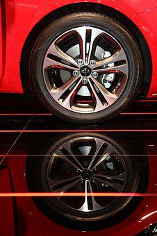 Rim, Car, Red, Auto, Reflection