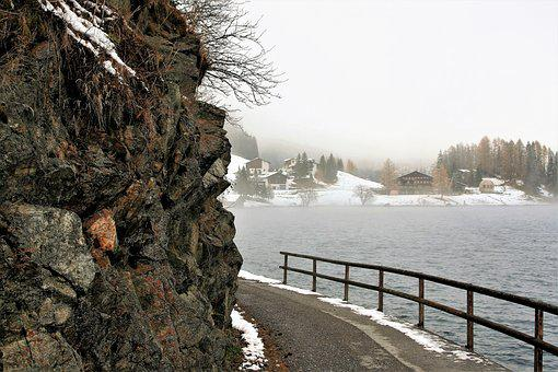 Rocks, Lake, Snow, Hiking, Davos, Houses, Beach