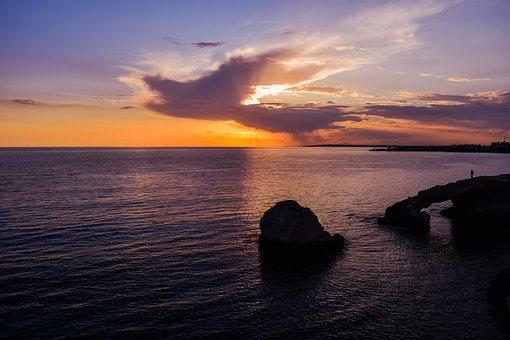 Sunset, Rocky Coast, Sea, Sky, Clouds, Horizon, Nature