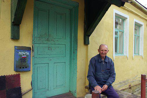 The Old Man, Mail, Russia, Old House, Cottage, Hut