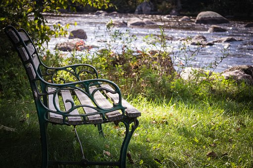 Bench, River, Water