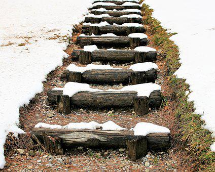 Stairs, Wooden, Target, Elevation, Grass, Winter, White