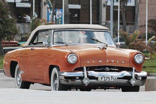 Cuba, Car, Lincoln, Orange, Vintage, Havana