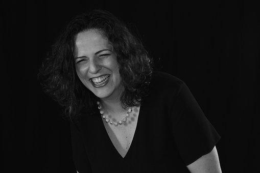 Woman, Laughing, Black And White, Joy, Happy, Happiness