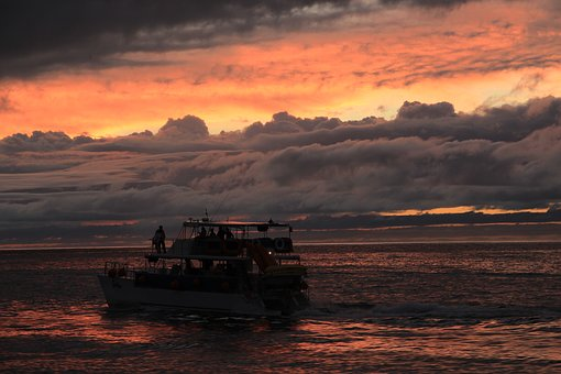 Ocean, Bay, Boat, Cloudy, Sunset, Sky, Cloudscape