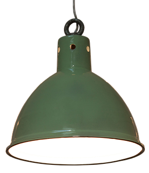 Pendant Lamp, Lamp, Green, Enamelled, Design, Bulbs