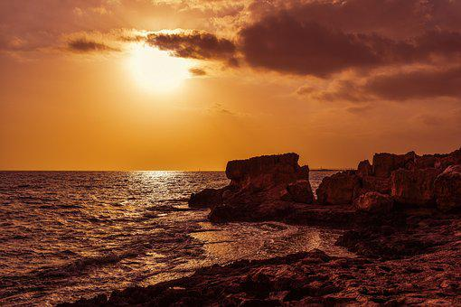 Sunset, Sun, Sky, Clouds, Rocky Coast, Formation