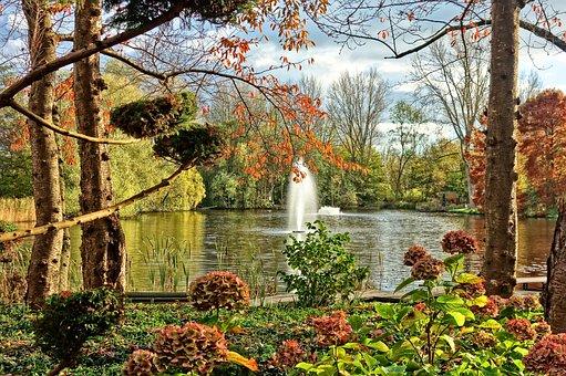 Fountain, Pond, Park, Garden, Style, Design, Landscape
