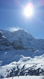 Sun, Mountain, Snow, Grindelwald, Swiss Alps, Mountains