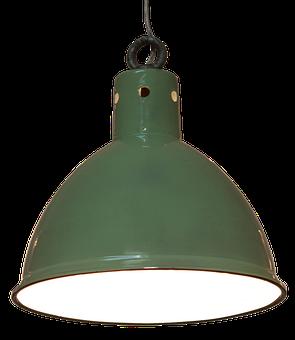 Pendant Lamp, Lamp, Green, Enamelled, Design, Bulbs