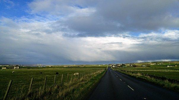 Scotland, Road, Pasture, Grass, Land, Freedom, Nature