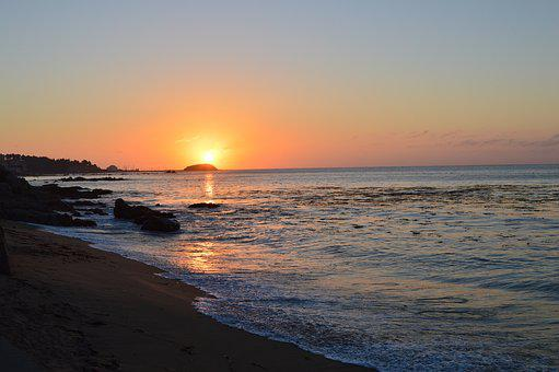 Sea, Sunset, Sun, Horizon, Landscape, Ocean, Postal
