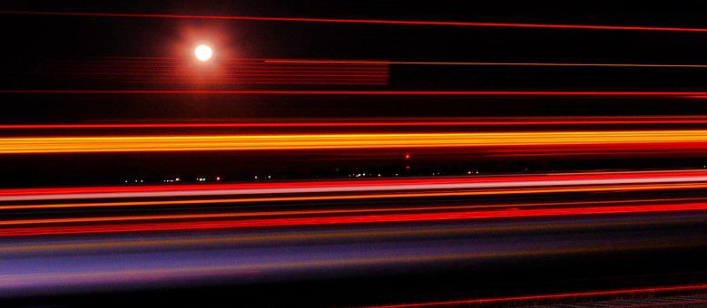 Night Highway, Light Trail, Highway, Night, Road