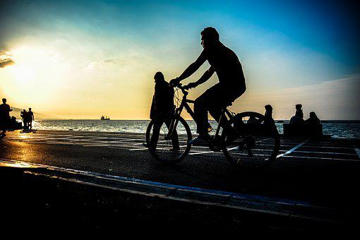B, Bicycle, Sea, Travel, Sunset, Outdoor, Healthy