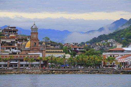 Town, Bay, Church, Mountains, Landscape, Sea, Panorama
