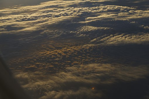 Clouds, Plane, Sky, Sunrise