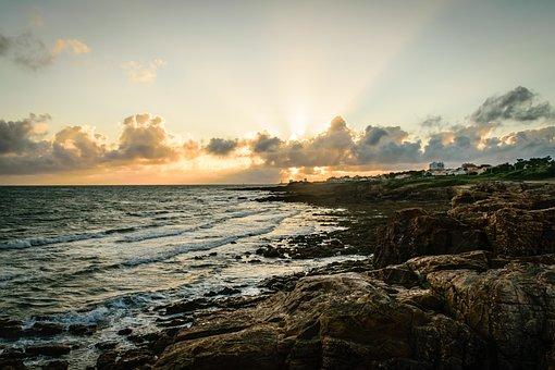 Water, Coast, Sunset, Landscape, Sea, Rocky Coast, Rock
