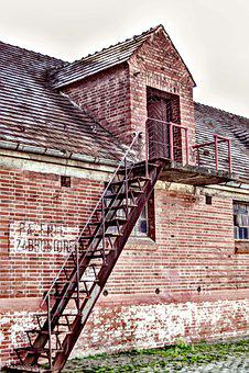 Stairs, Metal, Rusty, Old, Building, Brick, Barack